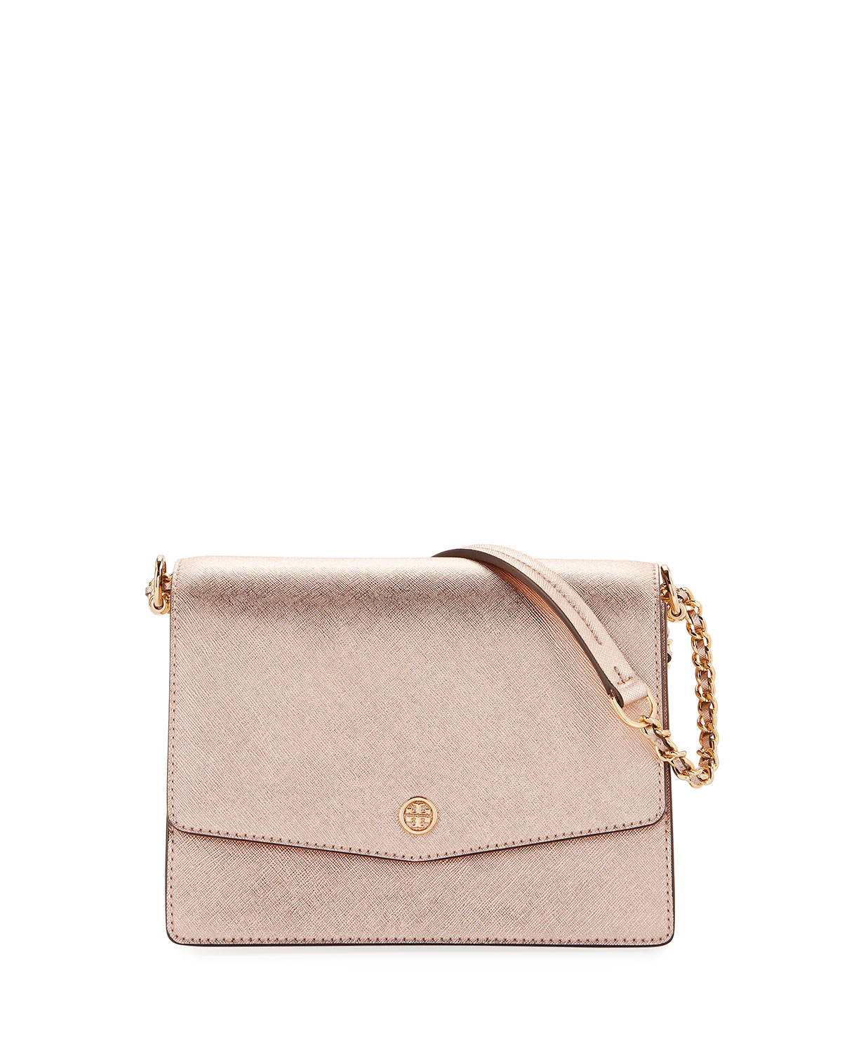 24018a4eb1e Tory Burch Robinson Convertible Metallic Leather Shoulder Bag - Pink In  Light Rose Gold