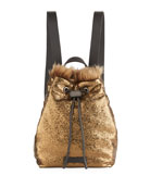 Brunello Cucinelli Broken-Glass Effect Backpack with Shearling