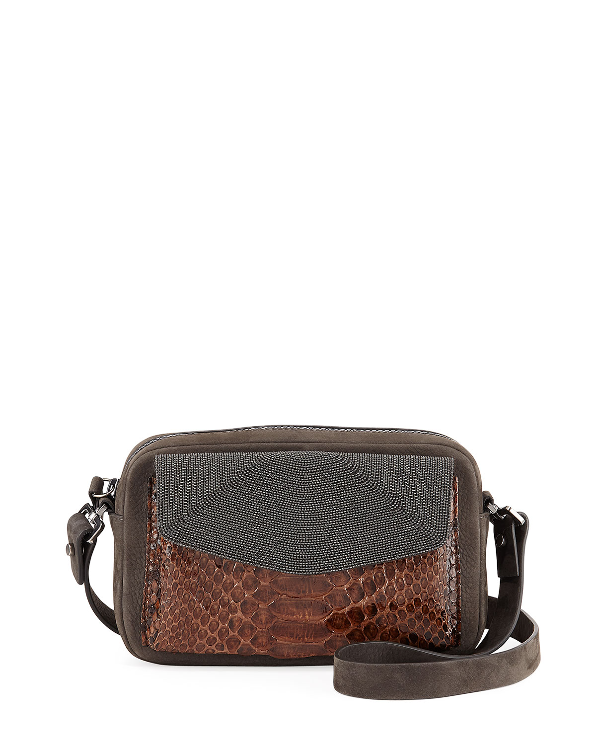 Leather & Snakeskin Pouch Crossbody Bag with Monili Trim