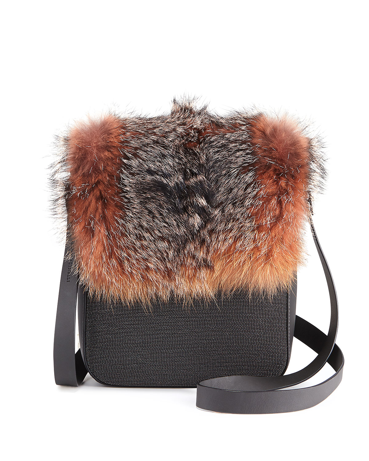 Fur and Monili Crossbody Messenger Bag