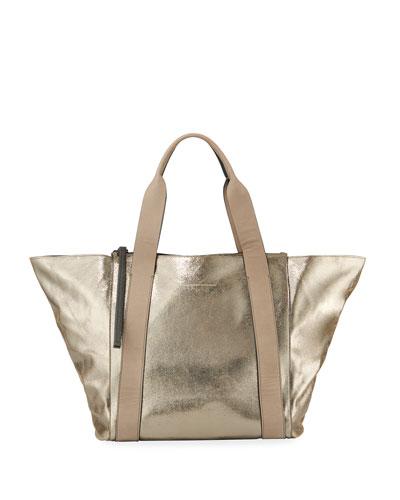 e4807408839 Quick Look. Brunello Cucinelli · Metallic Leather Zip-Top ...