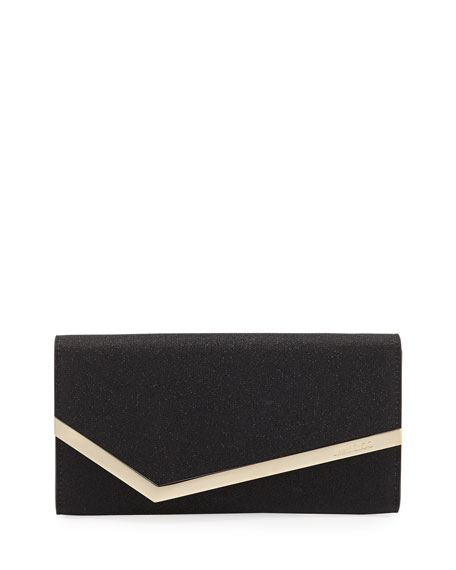 Jimmy Choo Emmie Fine Glitter Leather Clutch Bag
