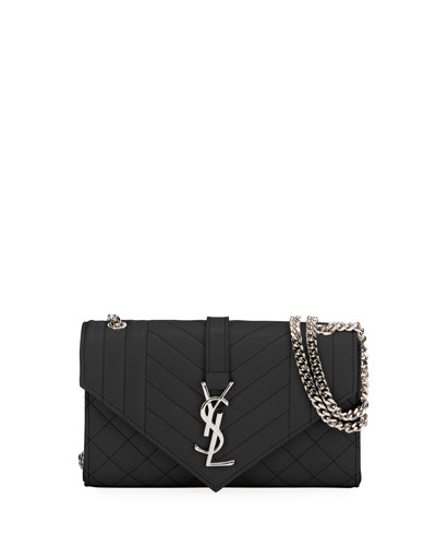 Monogram YSL Envelope Small Chain Shoulder Bag - Silver Hardware