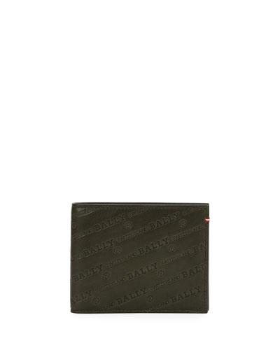 Men's Bevye Logo Leather Bi-Fold Wallet, Black