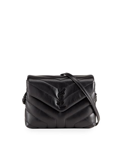 Saint Laurent Loulou Toy Matelasse Calfskin Flap-Top Shoulder Bag, Black Hardware