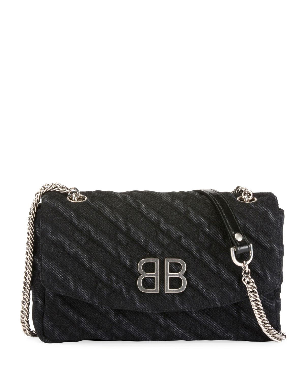 BB Chain Destroyed Denim Crossbody Bag