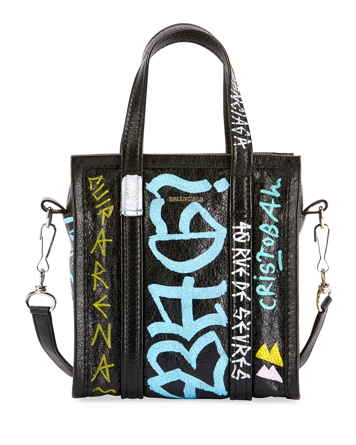Bazar Xxs Graffiti Printed Textured-Leather Tote, Black Pattern