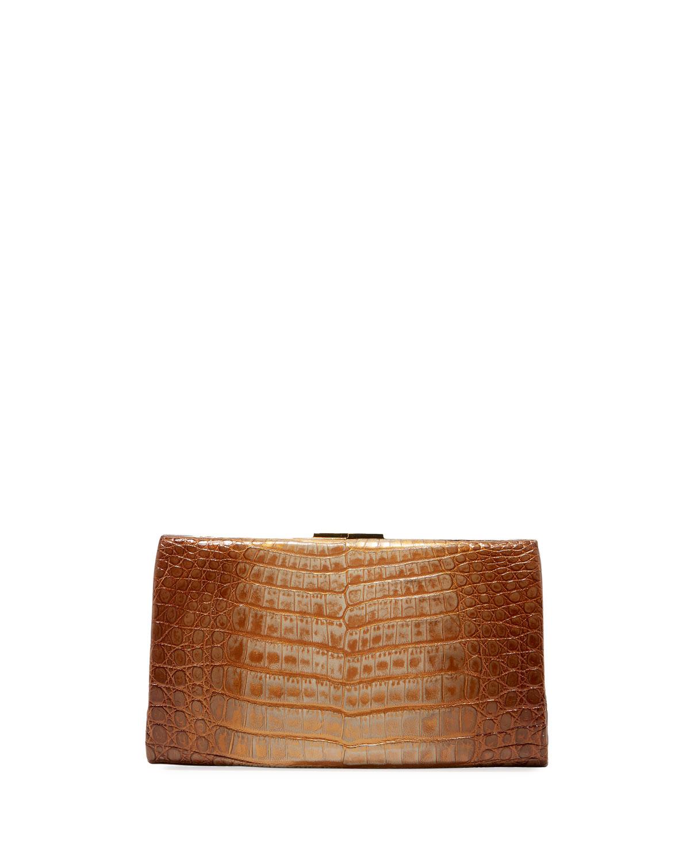 Colette Crocodile Slim Exposed-Frame Clutch Bag