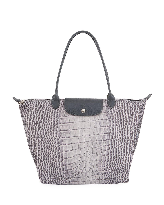 Le Pliage Croco Large Shoulder Tote Bag