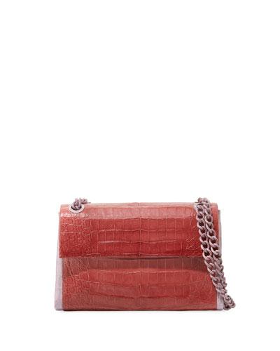 Madison Colorblock Croc Double-Chain Shoulder Bag