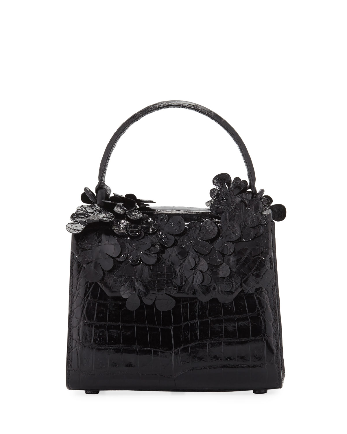 Lily Crocodile Top-Handle Bag with Flowers