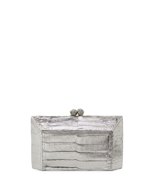 Geo Kiss-Lock Metallic Crocodile Minaudiere Clutch Bag