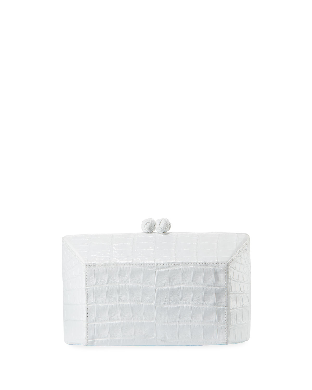 Gramercy Faceted Crocodile Minaudiere Clutch Bag