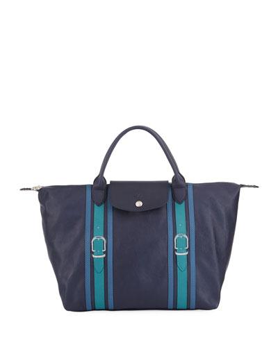 Le Pliage Cuir Brides Medium Handbag with Strap