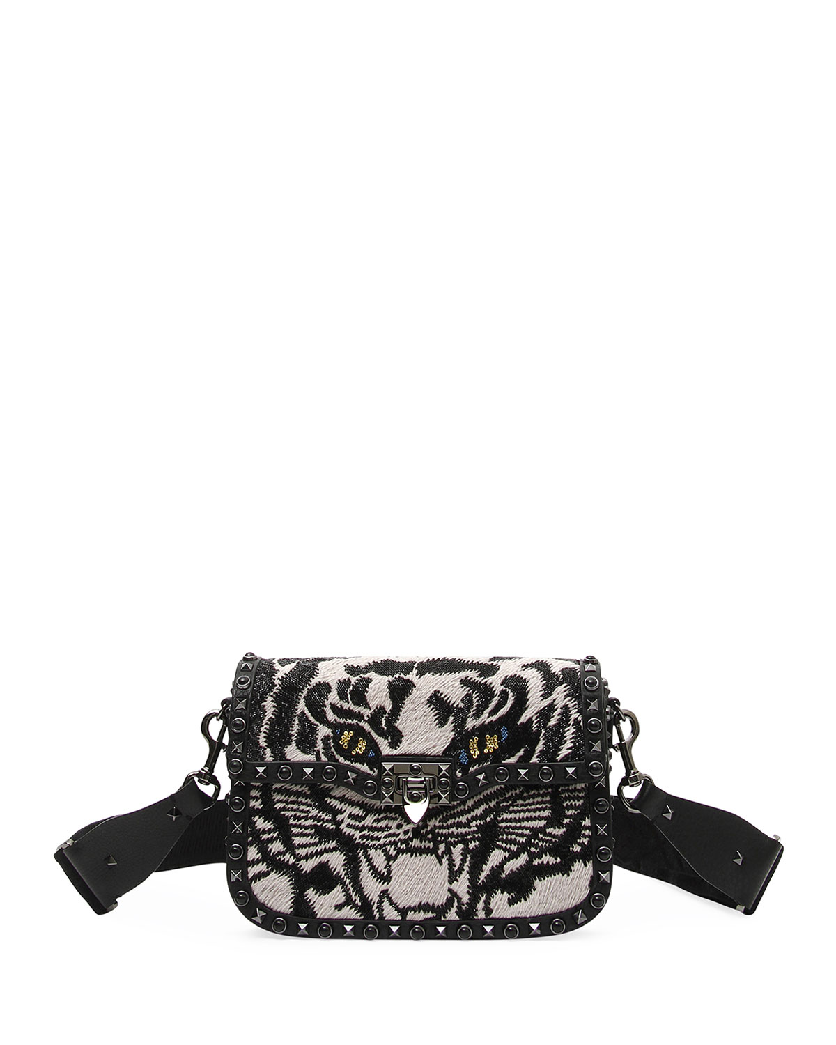 GUITAR ROCKSTUD ROLLING NOIR TIGER SHOULDER BAG