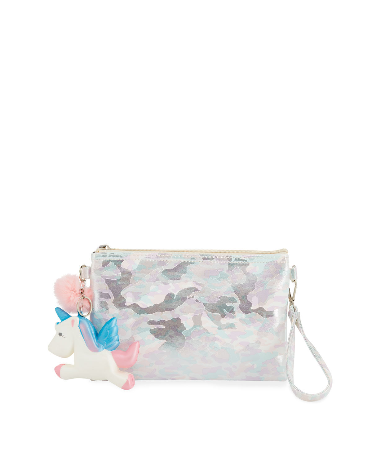 Girls' Camo Pouch Bag w/ Fur Pompom & Squeeze Unicorn