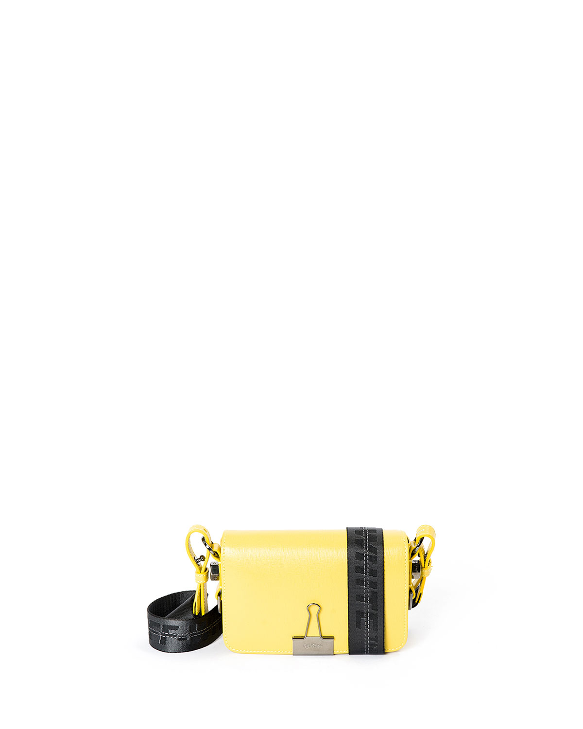 Mini Logo-Stripe Leather Flap Bag with Binder Clip