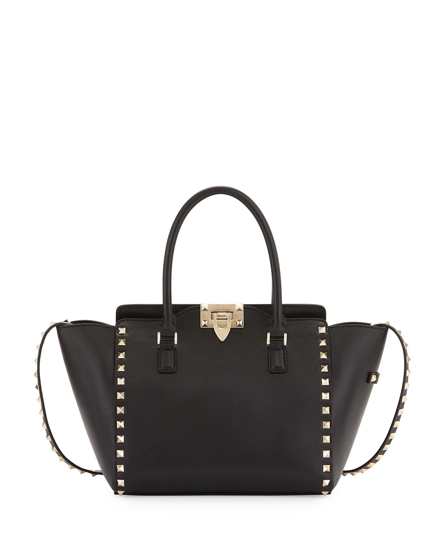 Rockstud Mini Leather Shopper Tote Bag