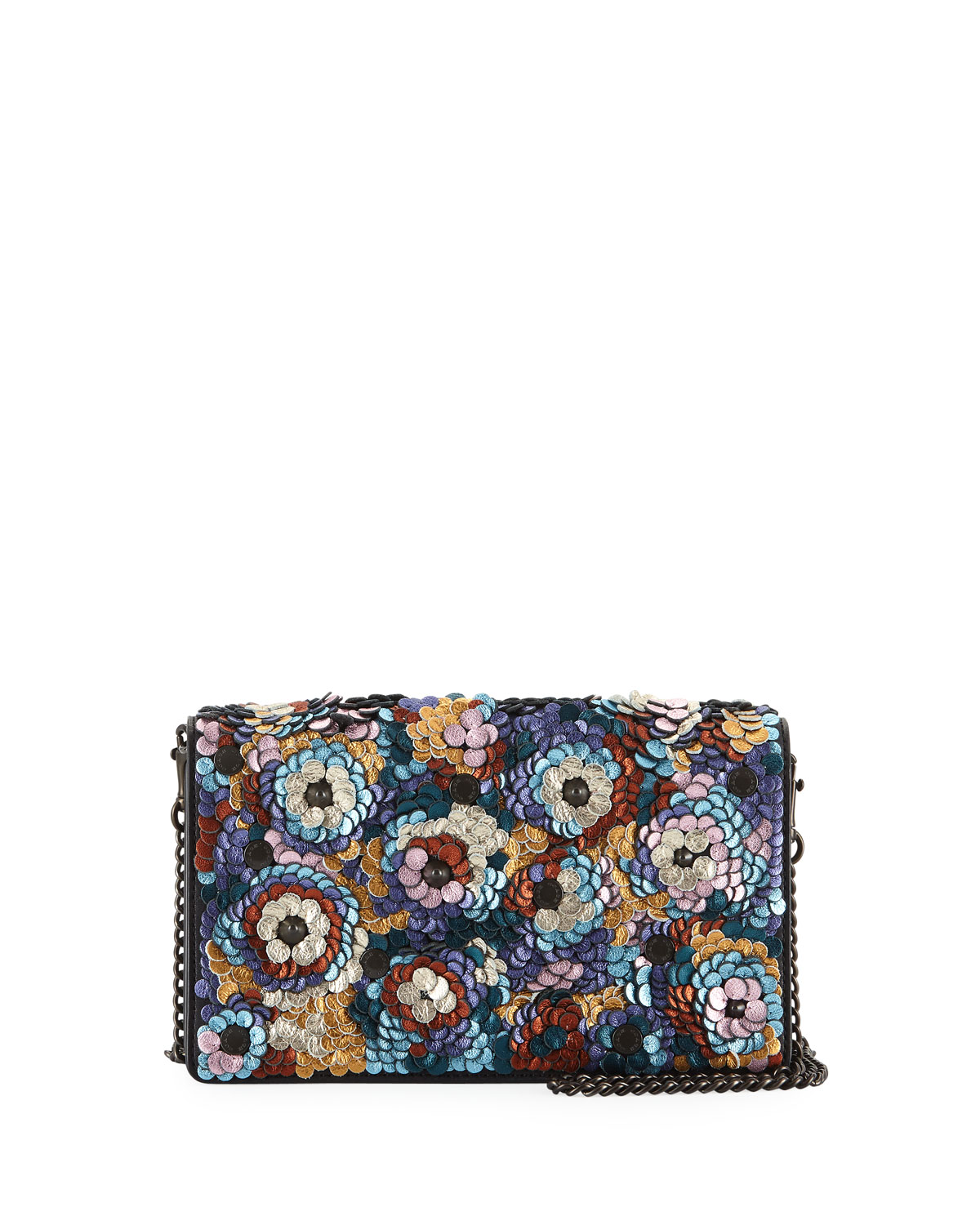 Leather Sequined Fold-Over Chain Clutch Bag in Multi Pattern