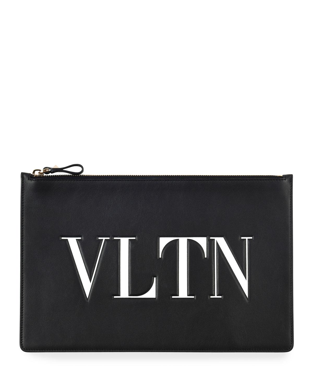 VLTN Large Flat Pouch Clutch Bag
