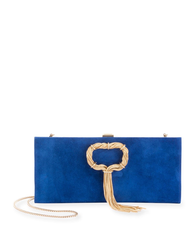 Club Chain Suede Clutch Bag