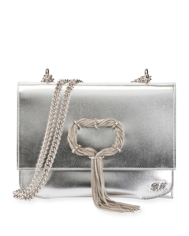 Club Chain Metallic Leather Evening Clutch Bag