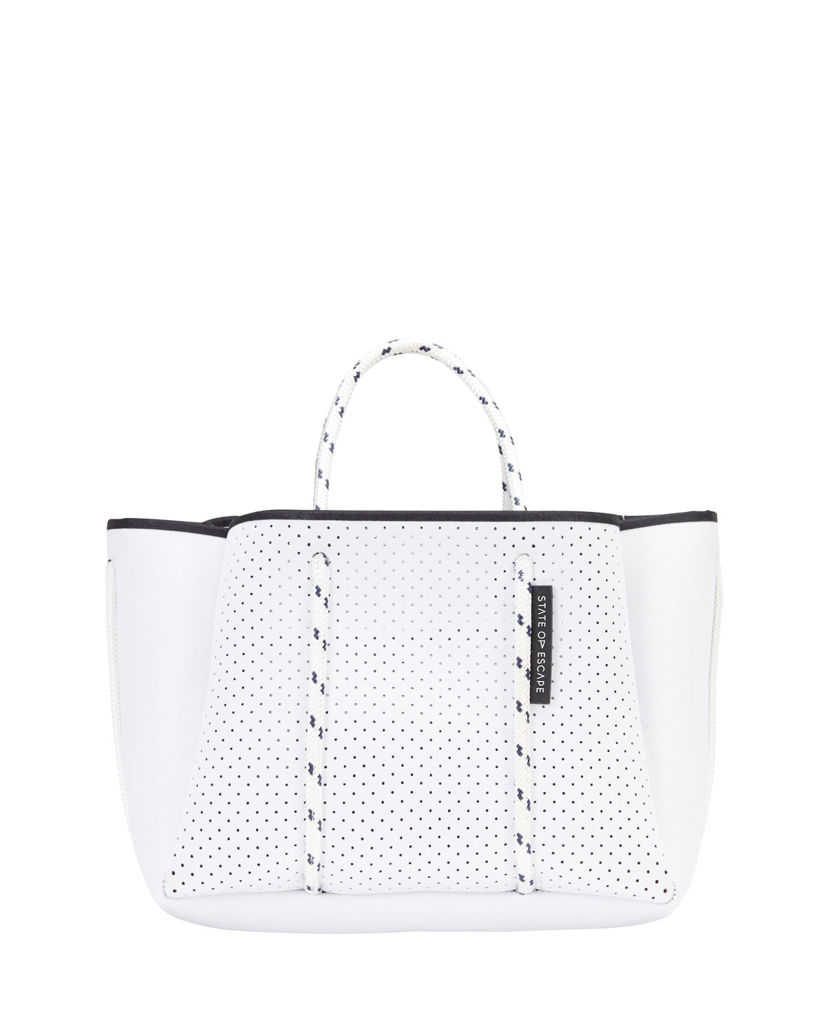 Petit Escape Perforated Tote Bag, White