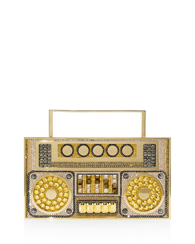 Boom Box Crystal Clutch Bag - Golden Hardware