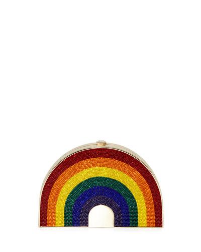 Rainbow-Shaped Crystal Clutch Bag