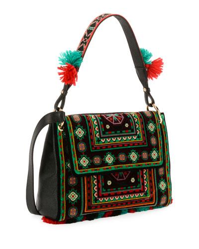 B Sotto Braccio Carpet Embroidered Shoulder Bag