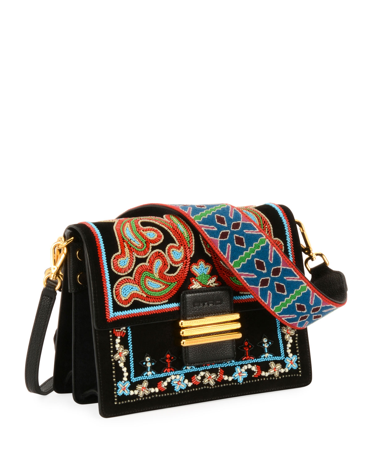 Bead-Embroidered Flap Shoulder Bag