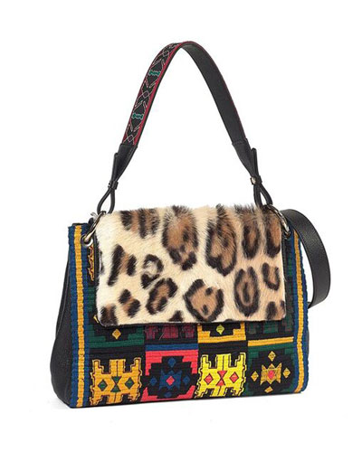 Quick Look Etro Leopard Print Fur Flap Embroidered Shoulder Bag