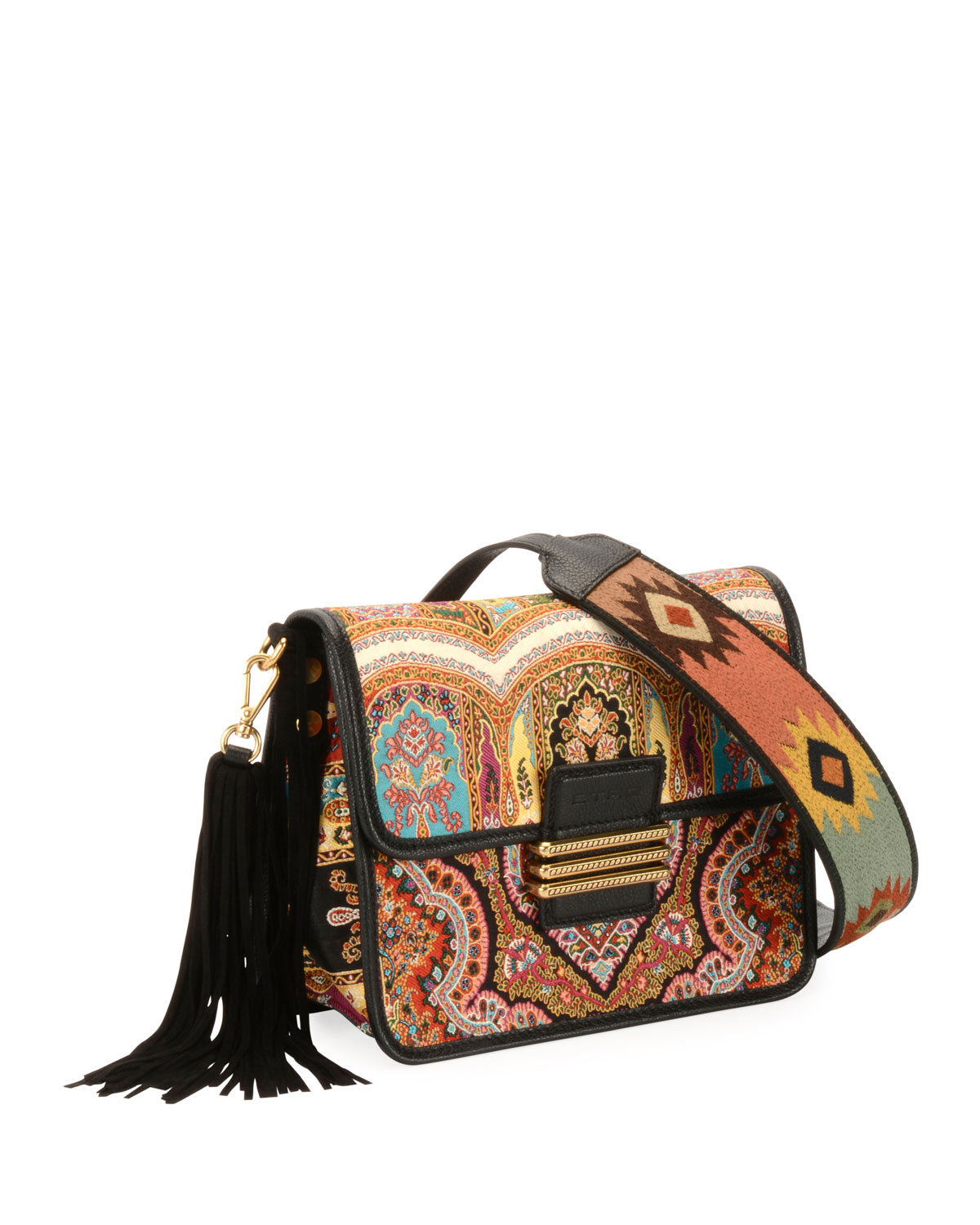 Rainbow Paisley Tassel Shoulder Bag