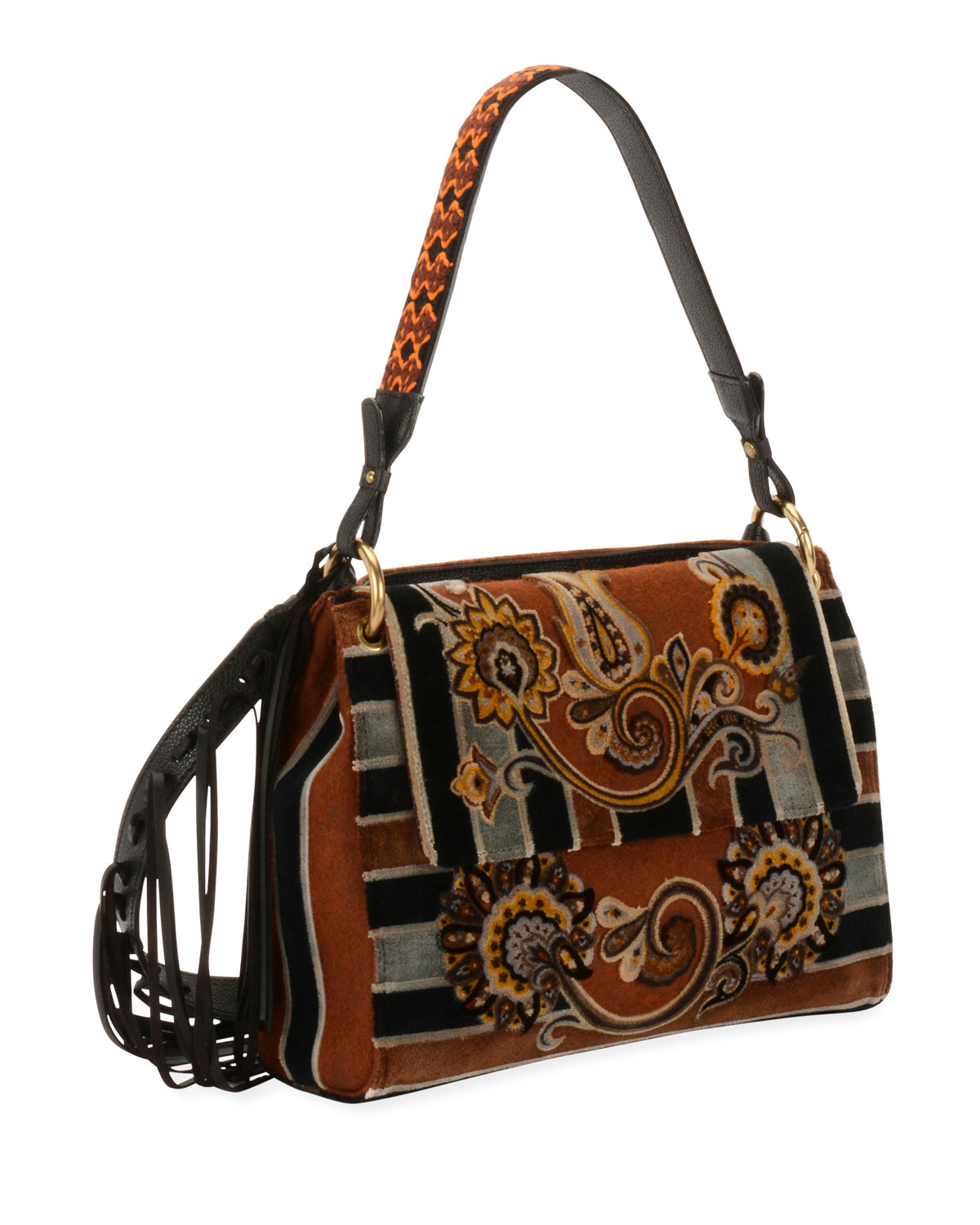 Paisley Embroidered Velvet Shoulder Bag
