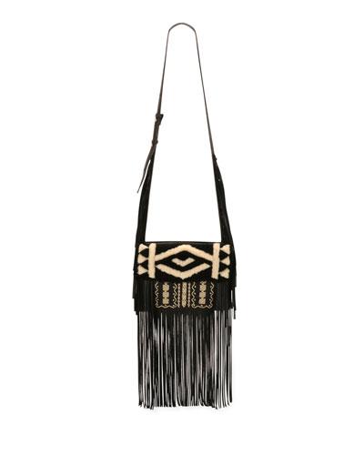 Embroidered Deerskin Fringe Shoulder Bag