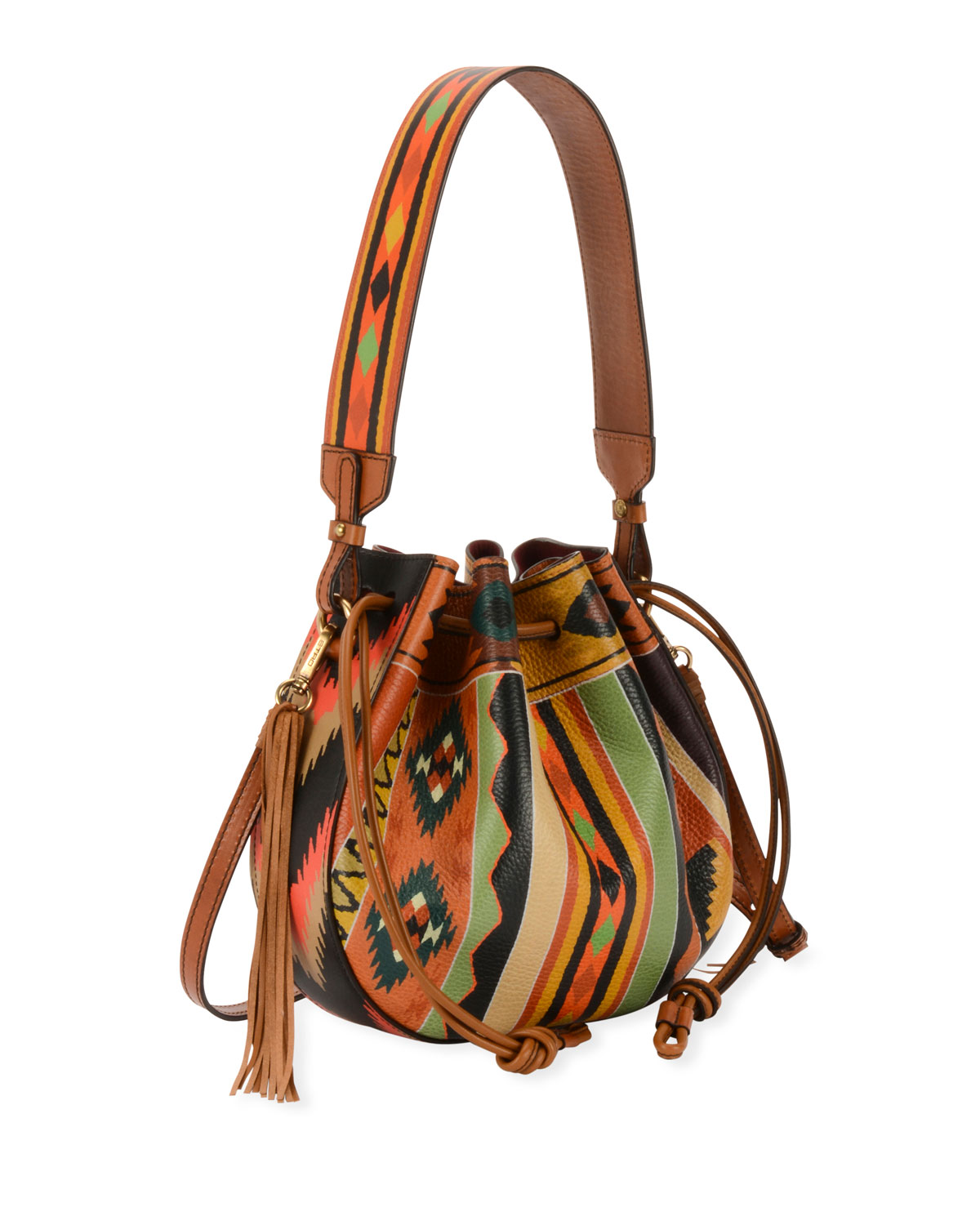 Southwestern-Print Leather Bubble Bag