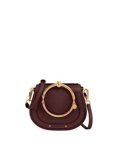 Nile Small Leather Ring-Handle Satchel Bag