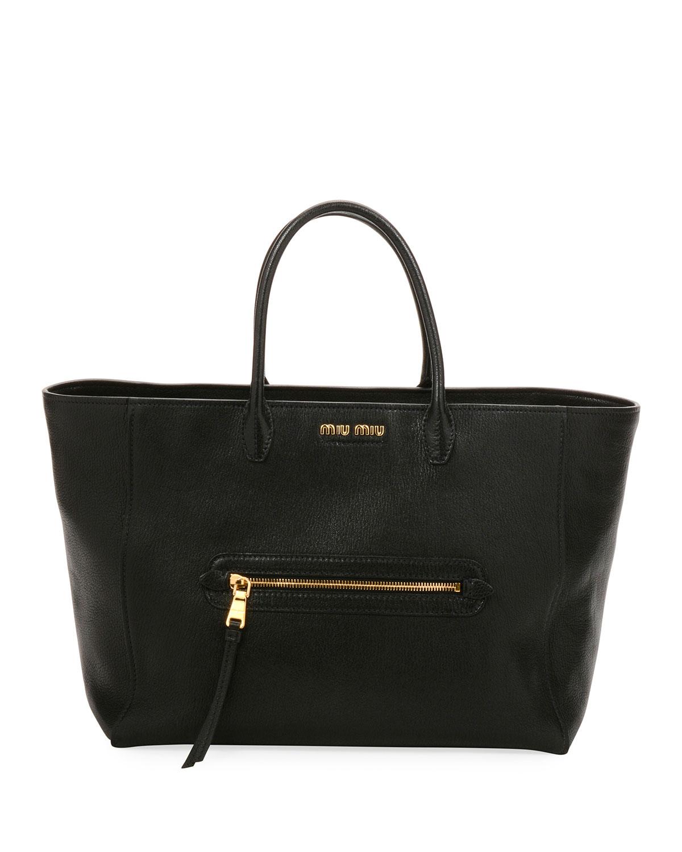 Madras Large Goatskin Leather Tote Bag