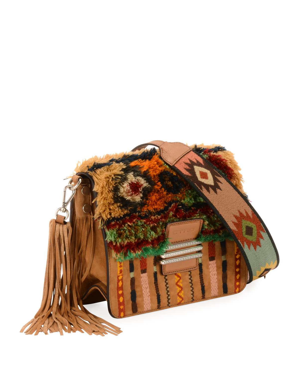 Rainbow Rug Stripe Embroidered Shoulder Bag