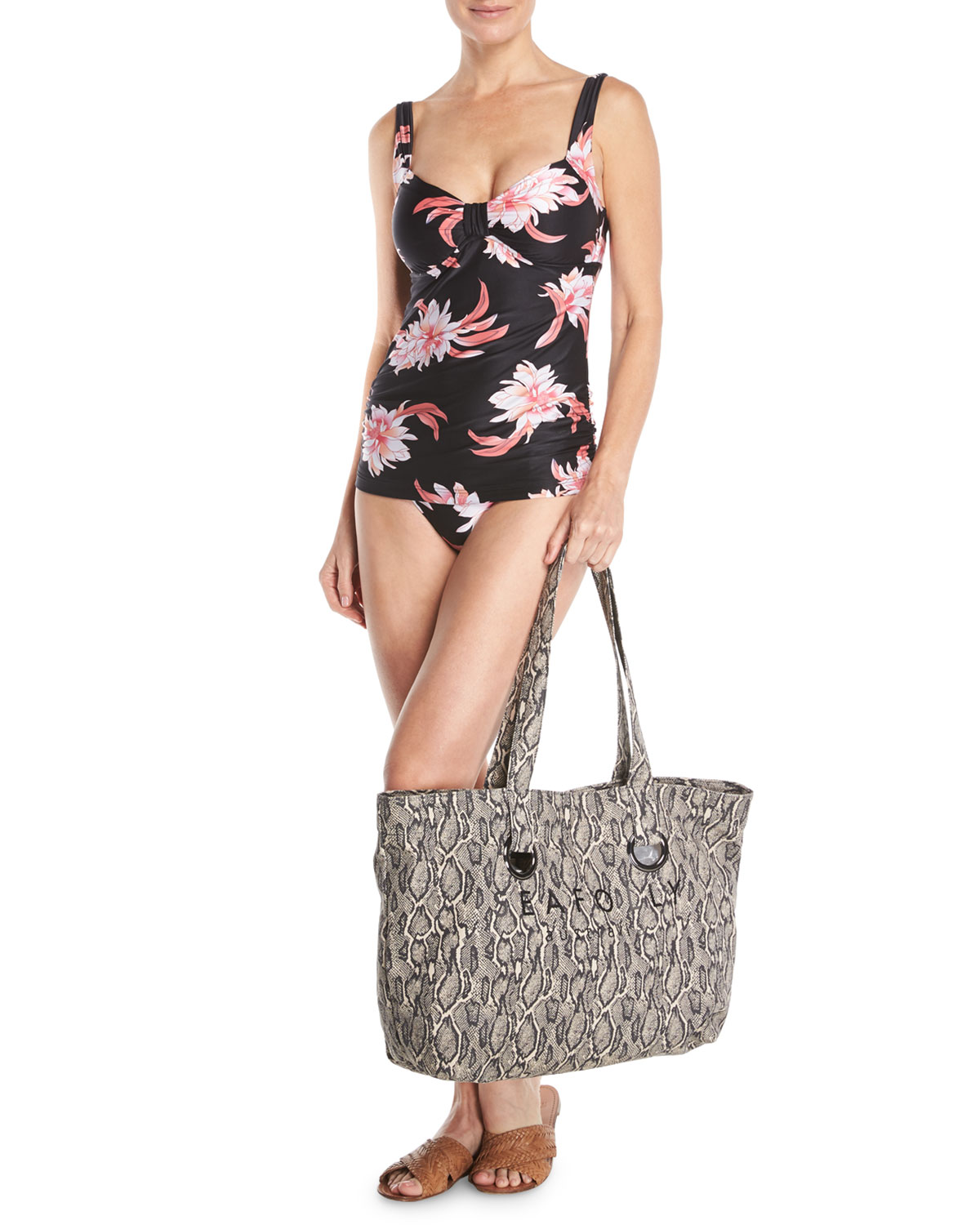 Carried Away Luxe Eyelet Beach Tote Bag