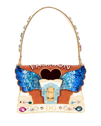 63942f94df Quick Look. Dolce   Gabbana · Lucia Fashion Angel Embellished Shoulder Bag