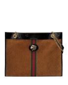 Gucci Linea Rajah Large Suede Shoulder Tote Bag