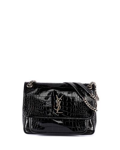 Niki Medium Monogram YSL Croco Shoulder Bag