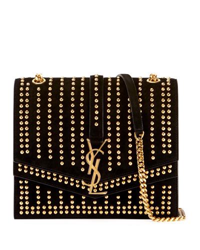 28ba20321415 Quick Look. Saint Laurent · Sulpice Monogram YSL Triple-Flap Suede Crossbody  Bag ...