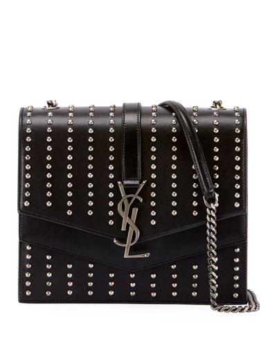 Sulpice Monogram Triple-Flap Leather Crossbody Bag