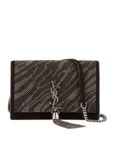 Kate YSL Zebra Crystal-Beaded Tassel Chain Crossbody Bag
