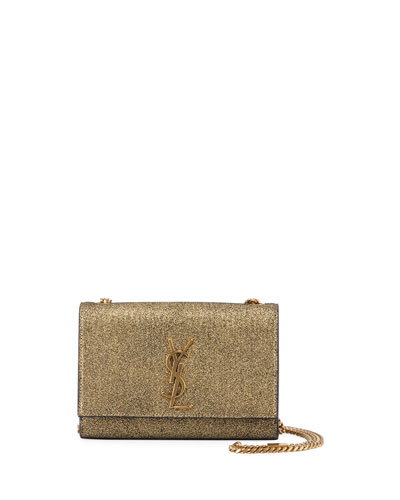 Kate Monogram YSL Small Metallic Crackled Leather Crossbody Bag