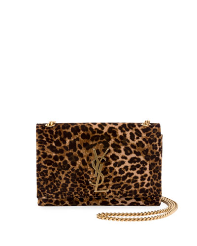 Kate Monogram YSL Small Leopard-Print Velvet Crossbody Bag