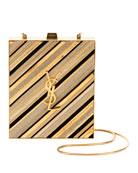 Saint Laurent Tuxedo Monogram YSL Chain-Detail Box Minaudiere
