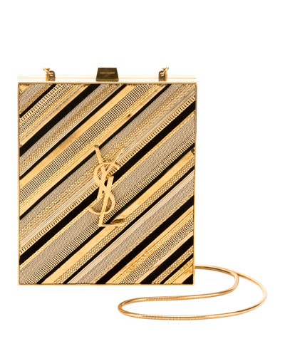 Tuxedo Monogram YSL Chain-Detail Box Minaudiere Clutch Bag